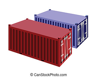 Two Container Cargo Container on White Background - Blue and...