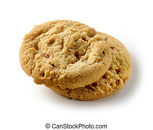 two cookies on white background