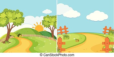 Two countryside scenes with road and field