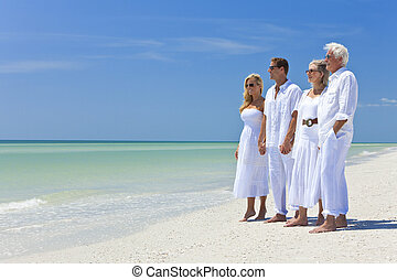 Two Couples Generations on Beach