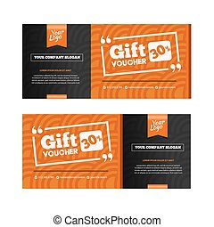 Two coupon voucher design. Gift voucher template with amount of discount and Contact Information. For hotel, restaurant, shop or other business.