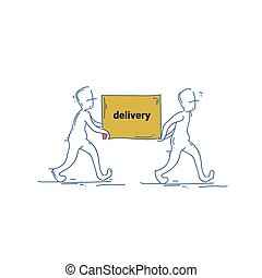 Two Courier Man Carry Box Delivery Service Doodle