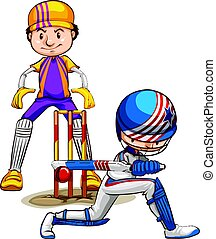 Two cricket players playing on white background