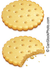 crispy cookies isolated on white - two crispy cookies...
