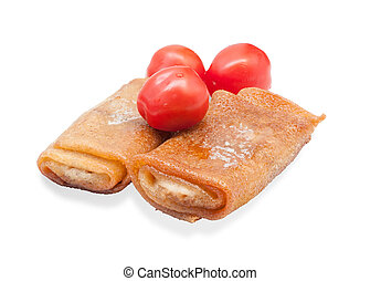 Two crispy pancake with cherry tomatoes