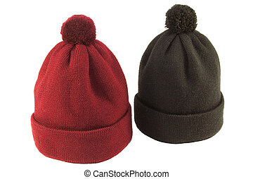 Wool knit hat red and black on a white background