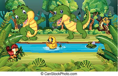 Two Crocodile in the forest