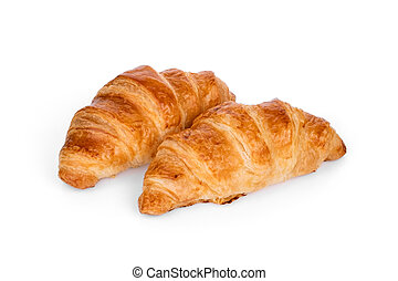two croissant isolated on white background