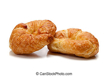 Two croissants on white
