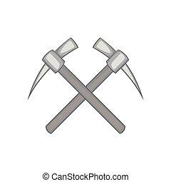 Two crosse picks icon, black monochrome style - icon in...