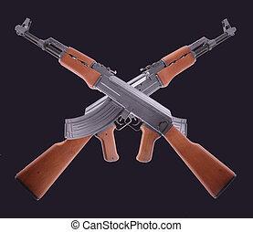 AK-47 - Two crossed AK-47 on black background