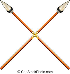 Two crossed ancient spears on white background