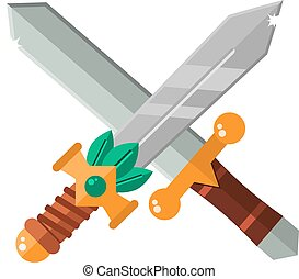 Two crossed Asia swords with gold handles traditional samurai weapon cartoon flat vector illustration.