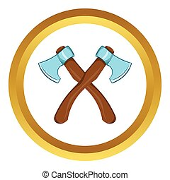 Two crossed axes vector icon, cartoon style