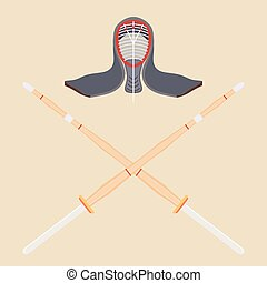 Two crossed bamboo training sword for kendo and protective helmet. Wooden Japanese swords, kendo. Vector kendo weapon