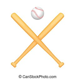 Two crossed baseball bats with small white ball