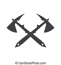 Two crossed battle axes with shartp spikes.