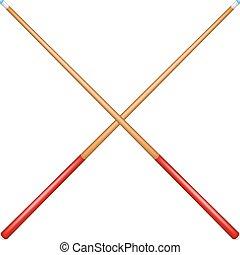 Two crossed billiard cues