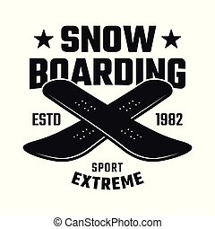 Two crossed boards emblem for snowboarding club