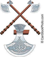 Two crossed Celtic ax