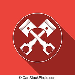 Two crossed engine pistons icon iisolated with long shadow. Flat design. Vector Illustration