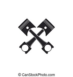 Two crossed engine pistons icon isolated. Flat design. Vector Illustration