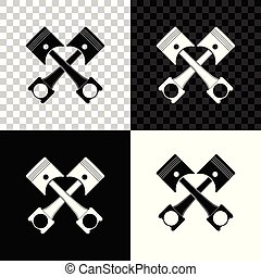 Two crossed engine pistons icon isolated on black, white and transparent background. Vector Illustration