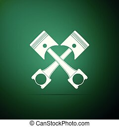 Two crossed engine pistons icon isolated on green background. Flat design. Vector Illustration