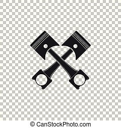 Two crossed engine pistons icon isolated on transparent background. Flat design. Vector Illustration