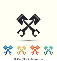Two crossed engine pistons icon isolated on white background. Set elements in colored icons. Flat design. Vector Illustration