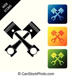 Two crossed engine pistons icon isolated on white background. Set icons colorful square buttons. Vector Illustration
