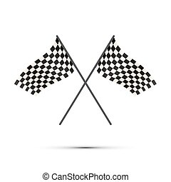 Two crossed finish flags with shadow on white