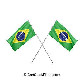 two crossed Flag of Brazil