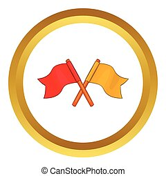 Two crossed flags vector icon
