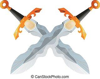 Two Crossed Flamberg Swords