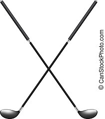 Two crossed golf clubs in retro style on white background