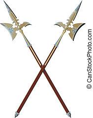Two crossed halberds - two ornate crossed halberds isolated...