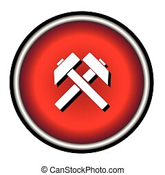 Two crossed hammers vector flat icon, labor symbol, black silhouette work sign on  background