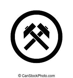 Two crossed hammers vector flat icon, labor symbol, black silhouette work sign on white background