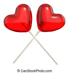 Two crossed heart shaped lollipops, isolated on white...
