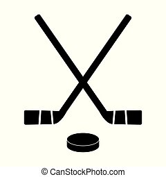 Two crossed hockey sticks and puck on white background. Vector illustration.