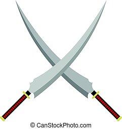 Two crossed Japanese  samurai swords icon isolated
