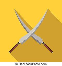 Two crossed Japanese  samurai swords icon