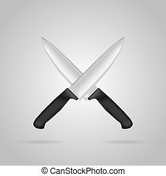 Two crossed kitchen knife in a realistic style
