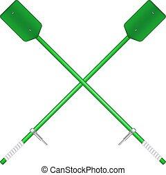 Two crossed oars in green design