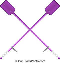 Two crossed oars in purple design