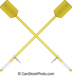 Two crossed oars in yellow design