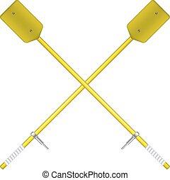 Two crossed oars in yellow design