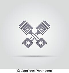 two crossed of car engine pistons isolated vector icon