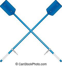 Two crossed old oars in blue design